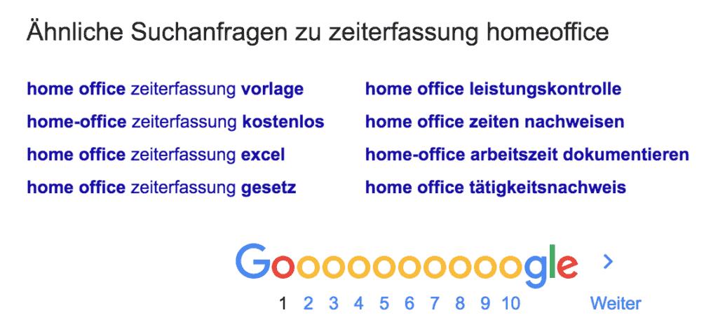 Google ähnliche Suchanfragen