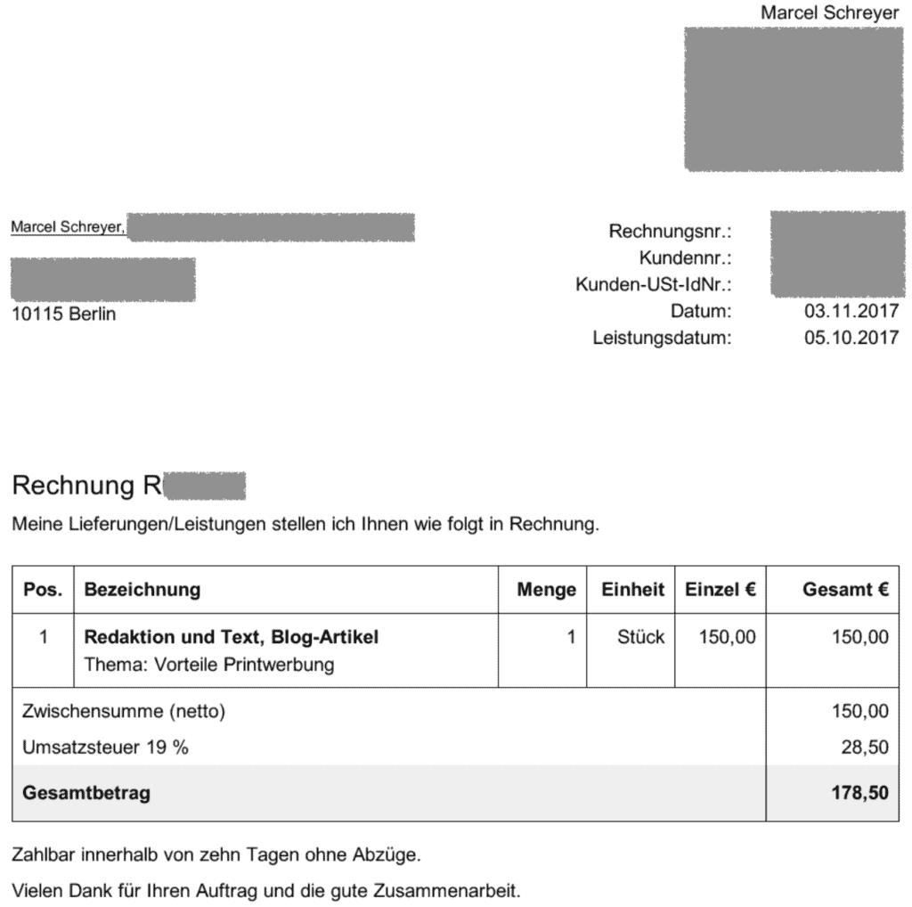 Text-Rechnung 150 Euro