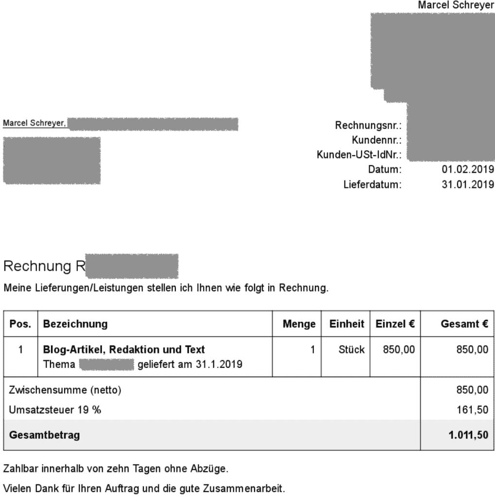 Text-Rechnung 850 Euro